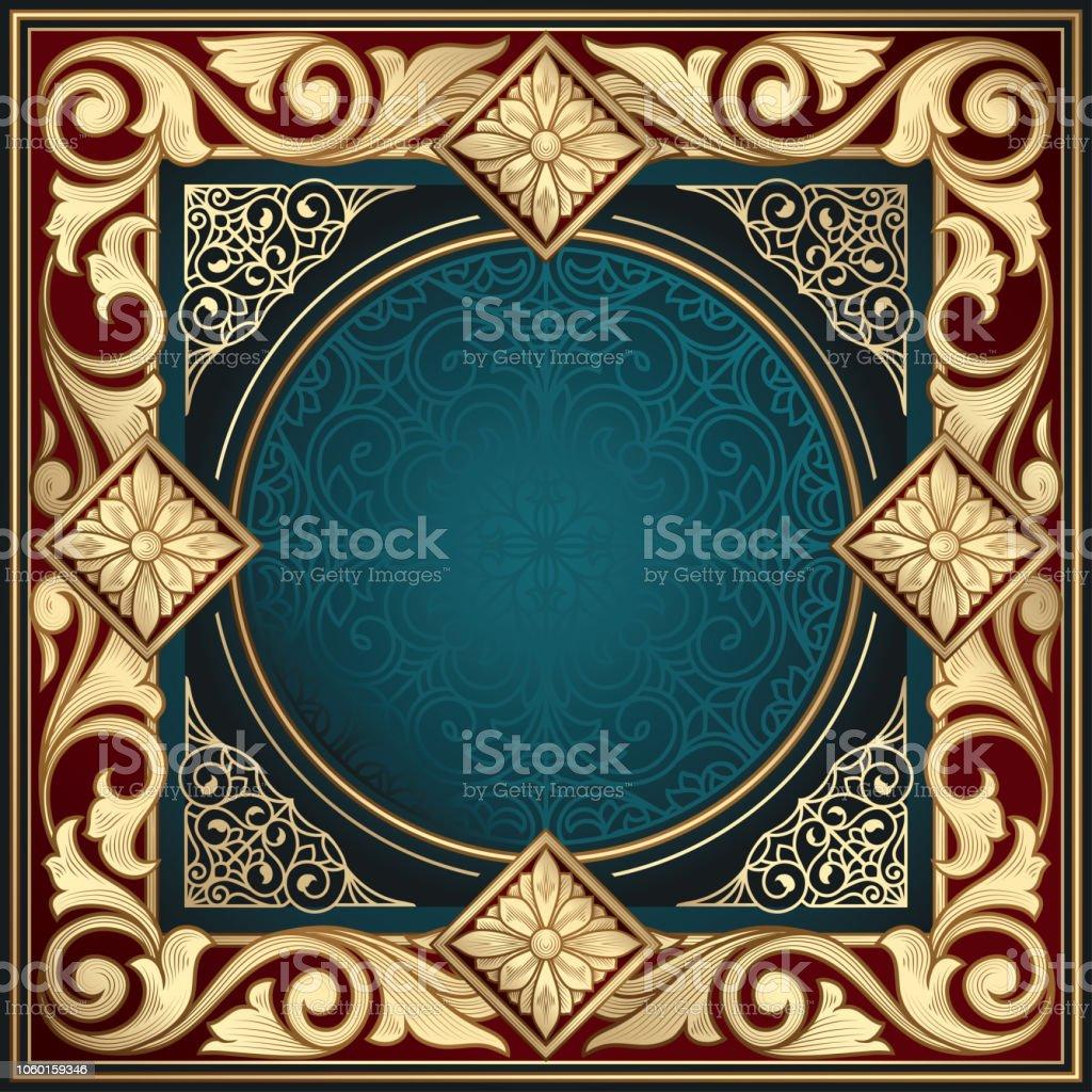 Golden ornate art deco vintage card vector art illustration