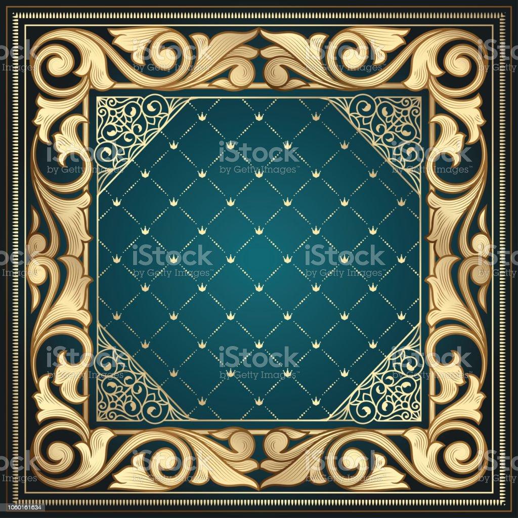Golden ornate art deco vintage frame vector art illustration