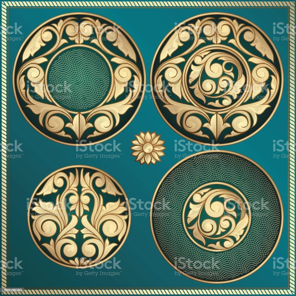 Golden ornate decorative design elements vector art illustration