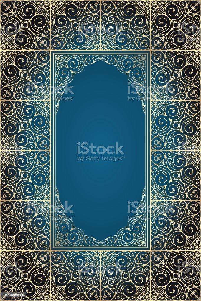 Golden ornate decorative frame vector art illustration