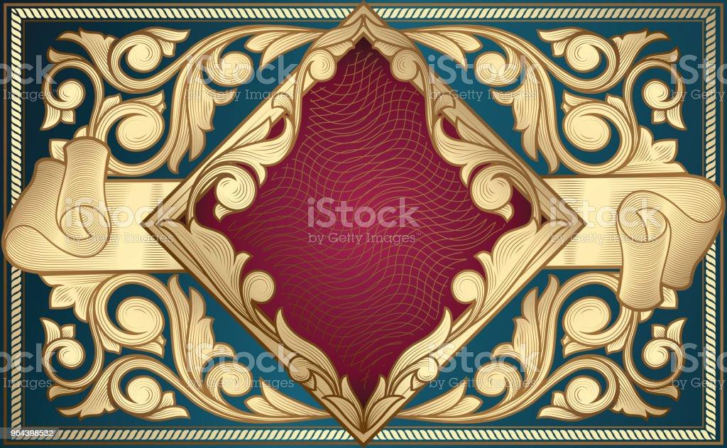 Projeto ornamentado dourado do vintage decorativo - Vetor de Abstrato royalty-free