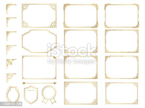 Golden ornate frames and scroll elements.