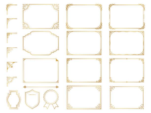 金色華麗的框架和滾動元素。 - 有邊框的 幅插畫檔、美工圖案、卡通及圖標