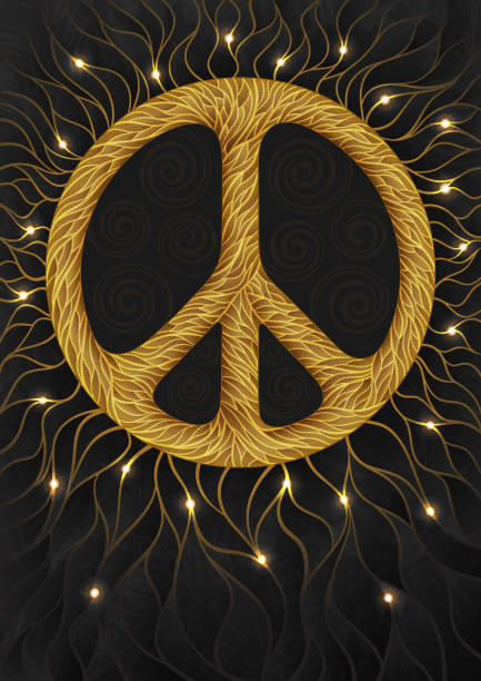 Golden pacific - vector background with peace symbol vector art illustration