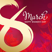 Celebrate International Women's Day with golden painted brush number 8 red floral background