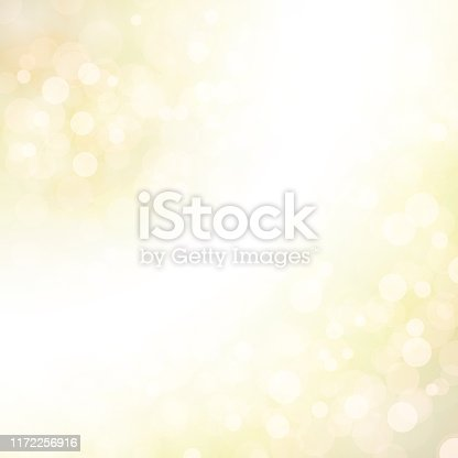 Golden green coloured shining star square backgrounds stock illustration. Looks like twinkling lights light shiny background. Vignette, vignetting, copy space. No people. No text. A bright white light brightens up the centre, middle or center and to right and bottom left corners of the frame. Different sized overlapping circles in same tone of colour, shade. Apt for party, Merry Xmas, Christmas, New Year's eve, birthday party celebration backdrop, wallpaper,  romantic gift wrapping paper.