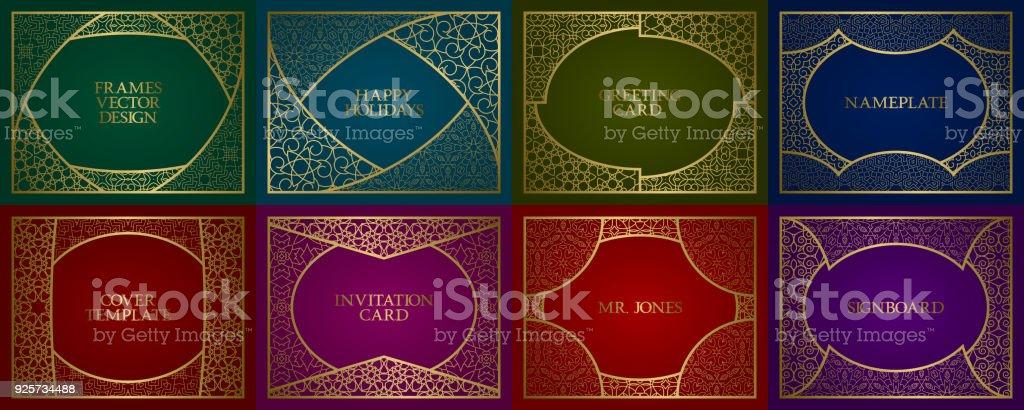 Golden Patterned Frames Set Vintage Design Of Backgrounds In Classic ...