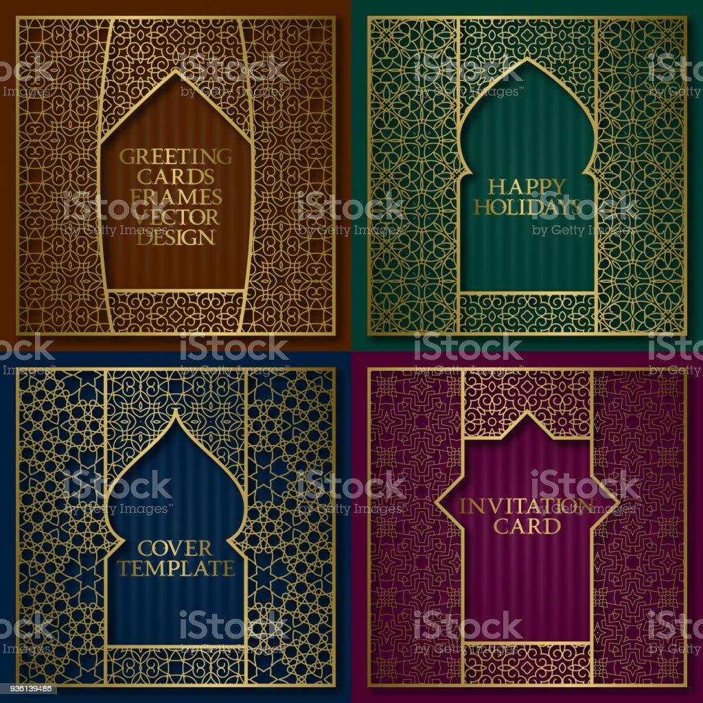 Goldene Gemusterte Rahmen Gesetzt Vintagedesign Grußkarten ...