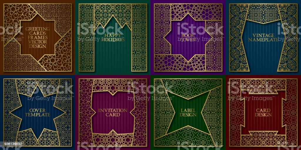 Golden Patterned Frames Set Vintage Design Of Greeting Cards ...