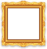 Gold Vintage Picture Frame. EPS10 Vector Illustration