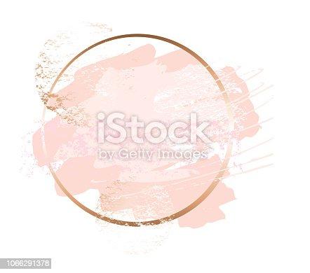 Golden pink nude art frames. Modern card design, brush stroke, lines, points, gold, premium brochure, flyer invitation template. Beauty identity elegant style. Hand drawn vector.