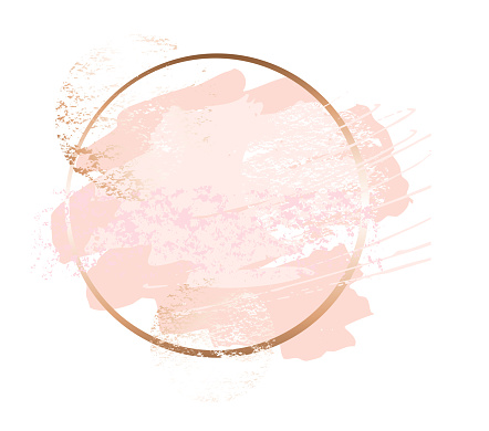 Golden pink art frames. Beauty identity elegant style. Hand drawn vector. clipart