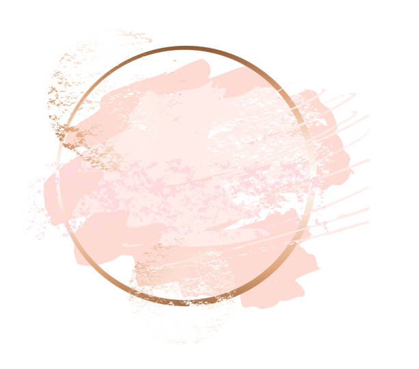 golden pink art frames. beauty identity elegant style. hand drawn vector. - makeup stock illustrations