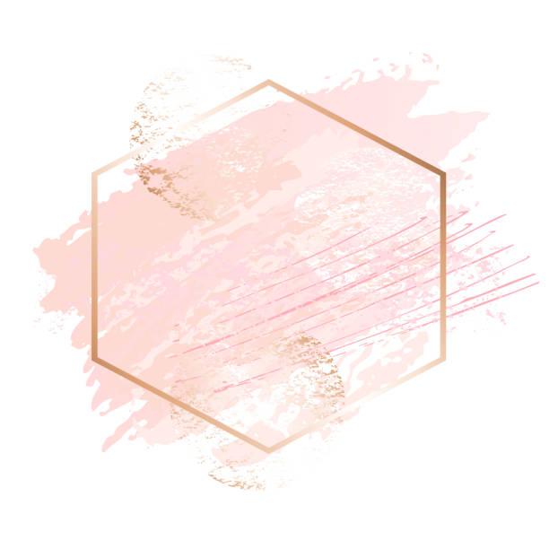 illustrazioni stock, clip art, cartoni animati e icone di tendenza di golden pink art frames. beauty identity elegant style. hand drawn vector. - beige