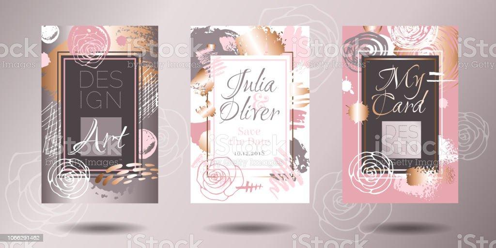 Golden pink art frames. Modern card design, brush stroke, gold,...