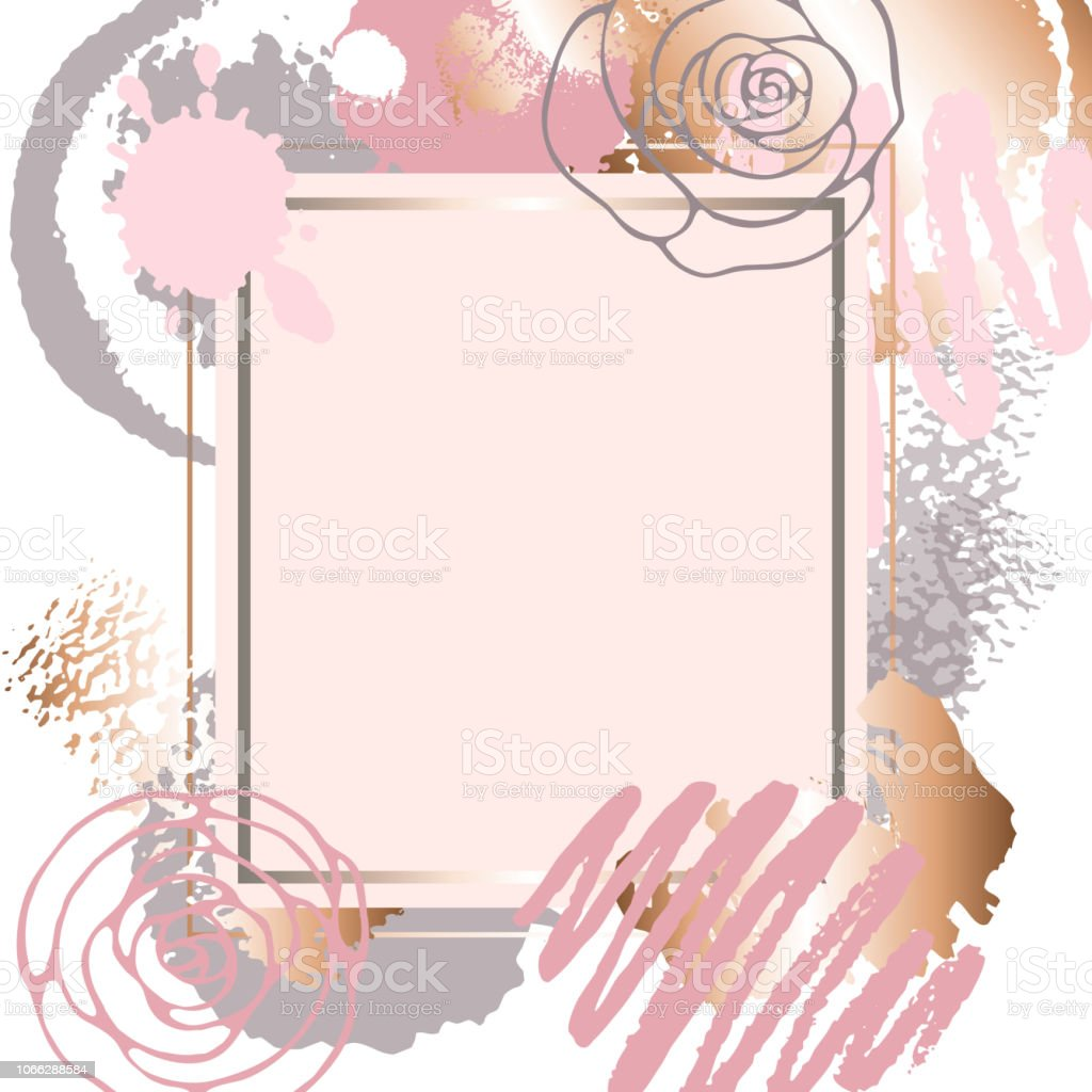Golden Pink Art Frames Pastel Rose Colors Brush Strokes Pink Gold