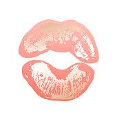 Golden pink lips lipstick traces, gold, imprint lips, kiss, for card design premium brochure, flyer, invitation. Beauty identity elegant style vector.