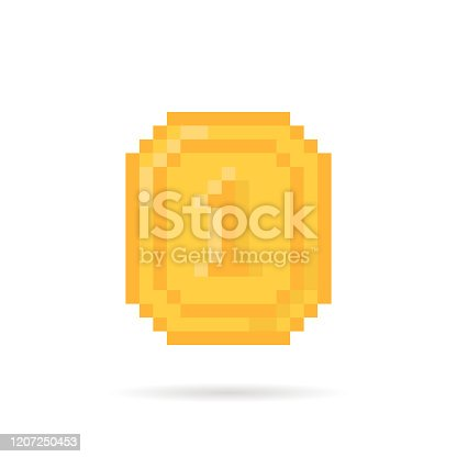 golden pixel art coin money for video game. concept of creative sign of gain or joy in old pix videogame. flat pixelart style trend modern logotype graphic design isolated on white background