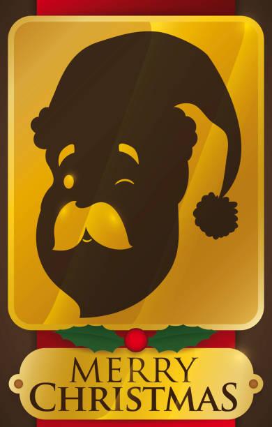 golden placard with santa face silhouette for christmas celebration - secret santa messages stock illustrations