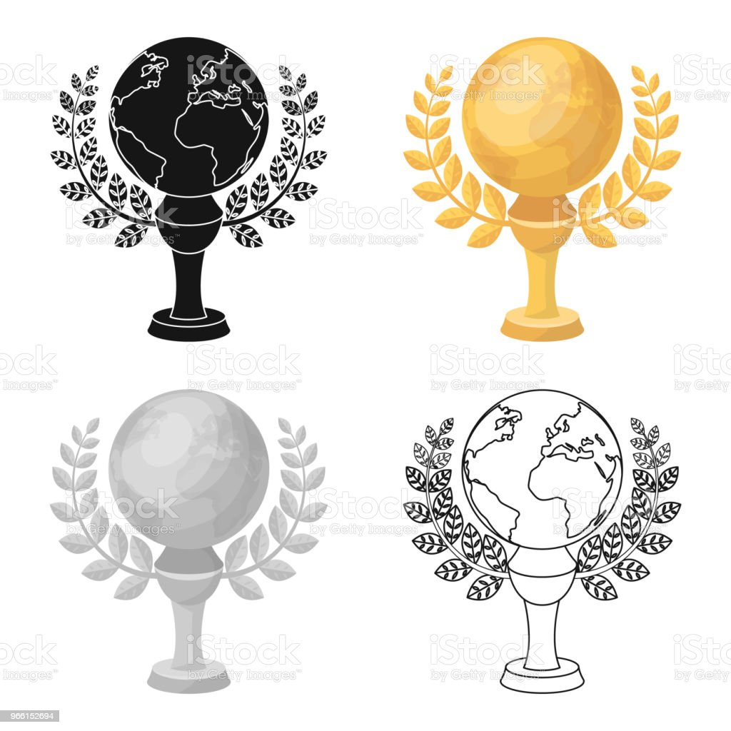 Golden planet with a wreath.The trophy for the best film about the Earth.Movie awards single icon in cartoon style vector symbol stock web illustration. - Royalty-free Award stock vector