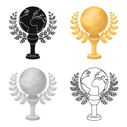 Golden Planet With A Wreaththe Trophy For The Best Film About The Earthmovie Awards Single Icon In Cartoon Style Vector Symbol Stock Web Illustration — стоковая векторная графика и другие изображения на тему Без людей