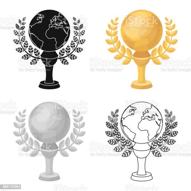 Gyllene Planet Med En Krans Pokalen För Bästa Filmen Om Earthmovie Awards Enda Ikon I Tecknad Stil Vektor Symbol Lager Web Illustration-vektorgrafik och fler bilder på Berömmelse