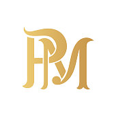 Golden PM monogram.