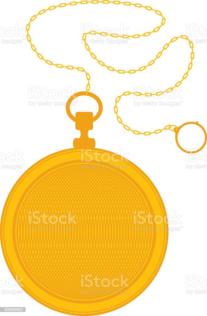 Golden Pocket Watch and Chain vector art illustration