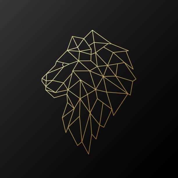 Golden polygonal Lion illustration isolated on black background. Geometric animal emblem. Vector illustration. Golden polygonal Lion illustration isolated on black background. Geometric animal emblem. Vector illustration. lion feline stock illustrations