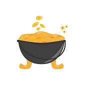 Golden pot. Element for St. Patrick s Day. Cartoon vector illustration for pub invitation, t-shirt design, cards or decor