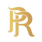 Golden PR monogram.