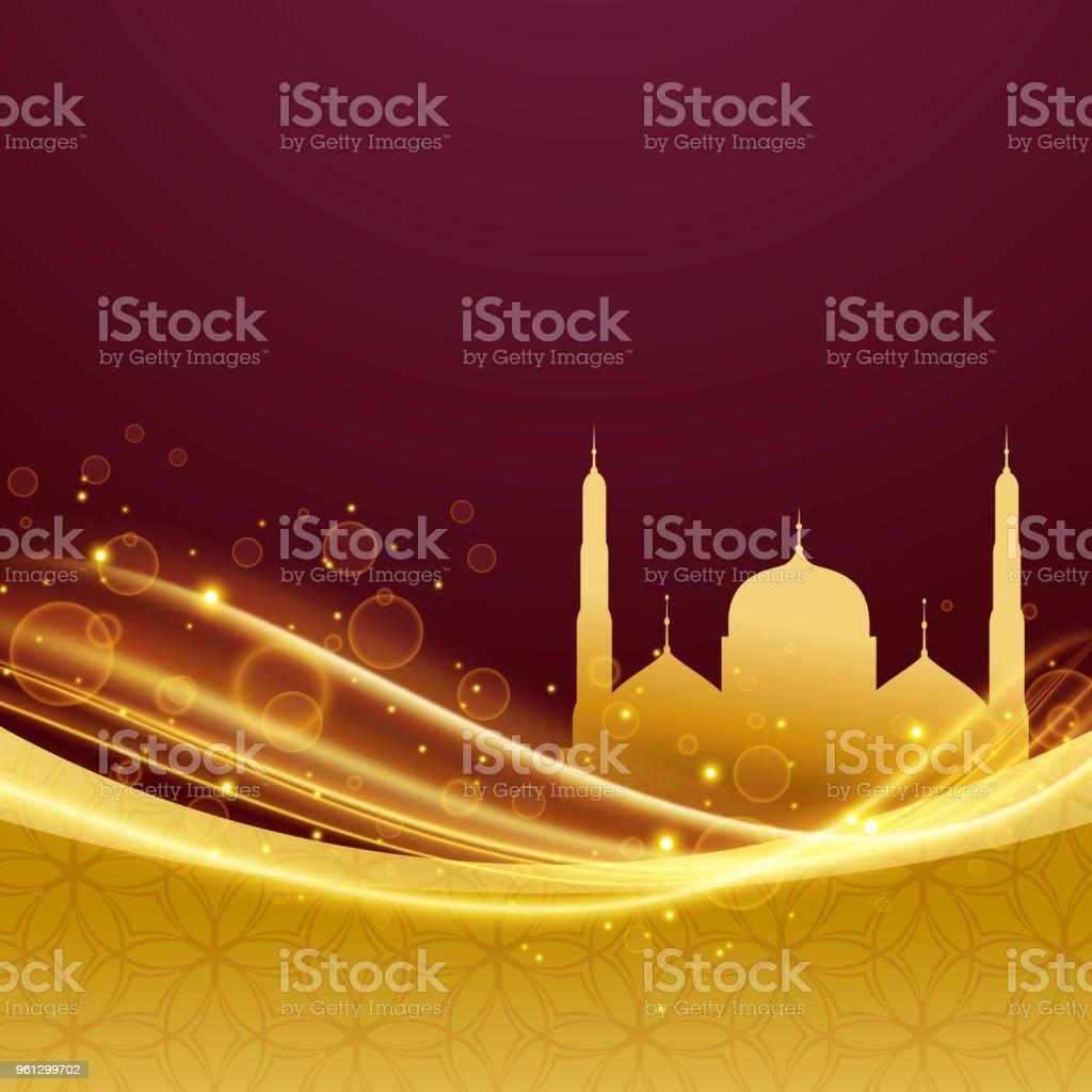 golden premium eid and ramadan festival design with light effect vector art illustration