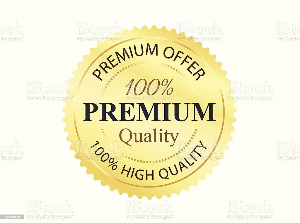 Golden Premium Quality Badge vector art illustration