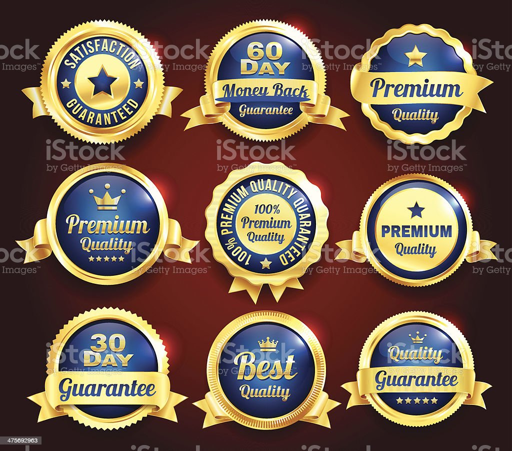 Golden Premium Quality Badges royalty-free golden premium quality badges stock vector art & more images of badge