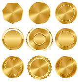 Golden Premium Quality Best Labels Medals Collection on White