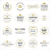 A set of premium and high quality product stamps with laurel wreaths on white background. Eps8.