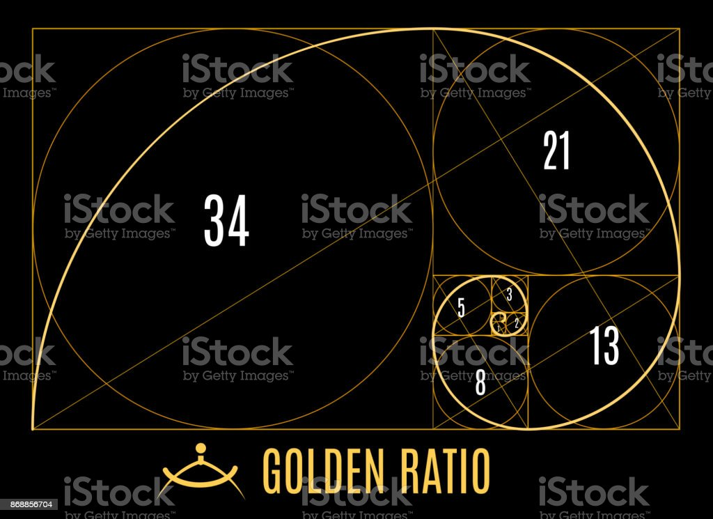 Golden proportions ratio guidelines vector art illustration