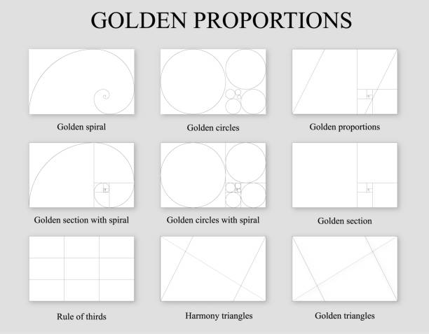 golden proportions set . golden section ration - сетка фибоначчи stock illustrations