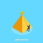 a man in a business suit using a rope tries to climb a golden pyramid, an isometric image