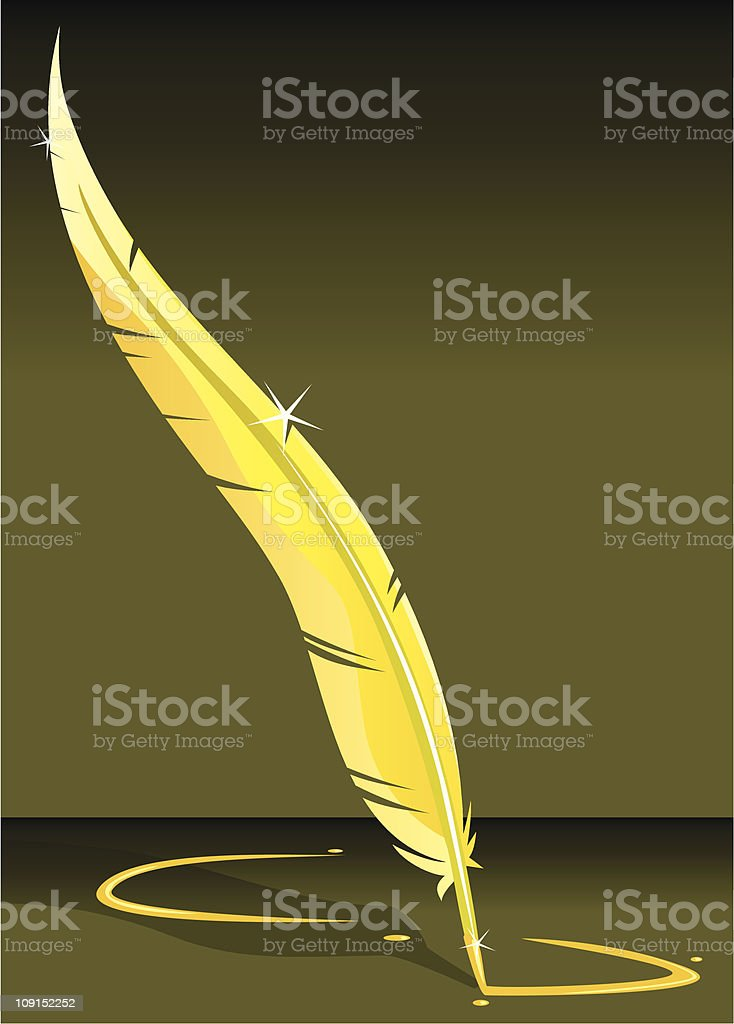 golden quill royalty-free golden quill stock vector art & more images of calligraphy
