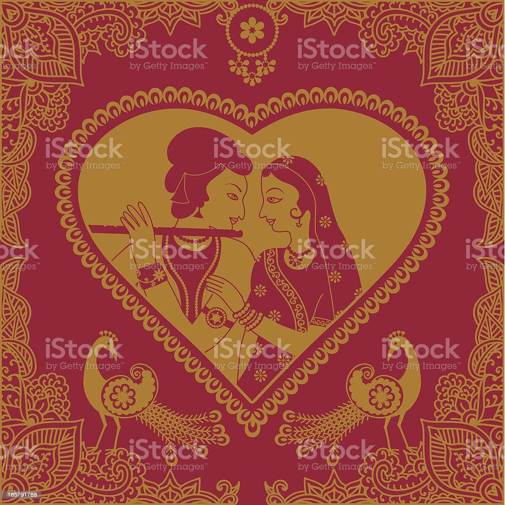 Golden Radha Krishna Heart Stock Illustration - Download