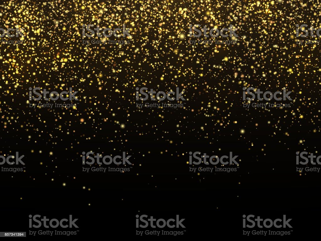 Golden rain isolated on black background. Vector gold grain texture celebratory wallpaper vector art illustration