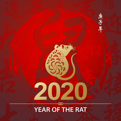Golden Rat on Chinese Calligraphy Backgraphy