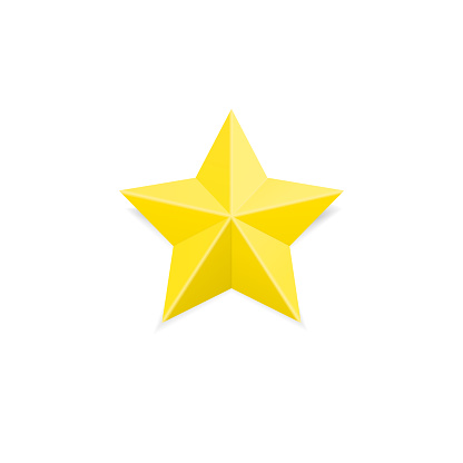 Golden rating star. Yellow first place achieve sign.