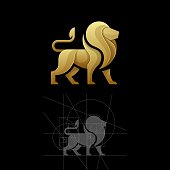 Golden ratio, a lion, a cat, a lynx in a jump. Vector illustration Template.Suitable for Creative Industry, Multimedia, entertainment, Educations, Shop