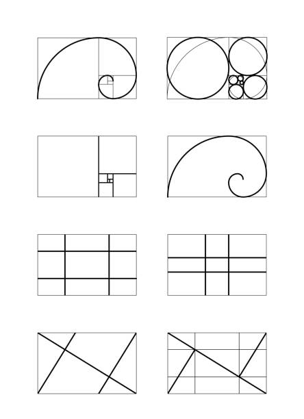 golden ratio. cover template. - сетка фибоначчи stock illustrations