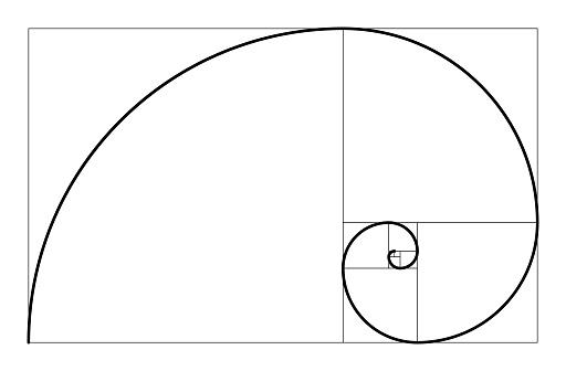 Golden ratio geometric concept. Fibonacci spiral. Vector illustration.