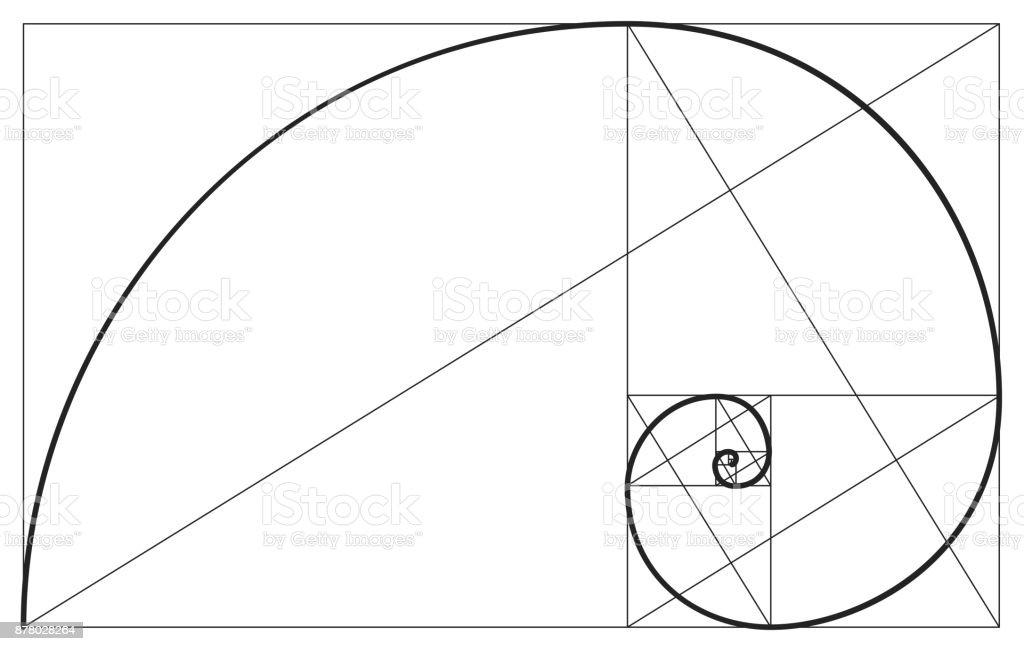 Golden ratio spiral symbol vector art illustration