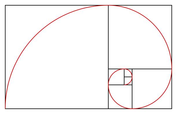 golden ratio template. proportion symbol. graphic design element. golden section spiral - golden ratio stock illustrations