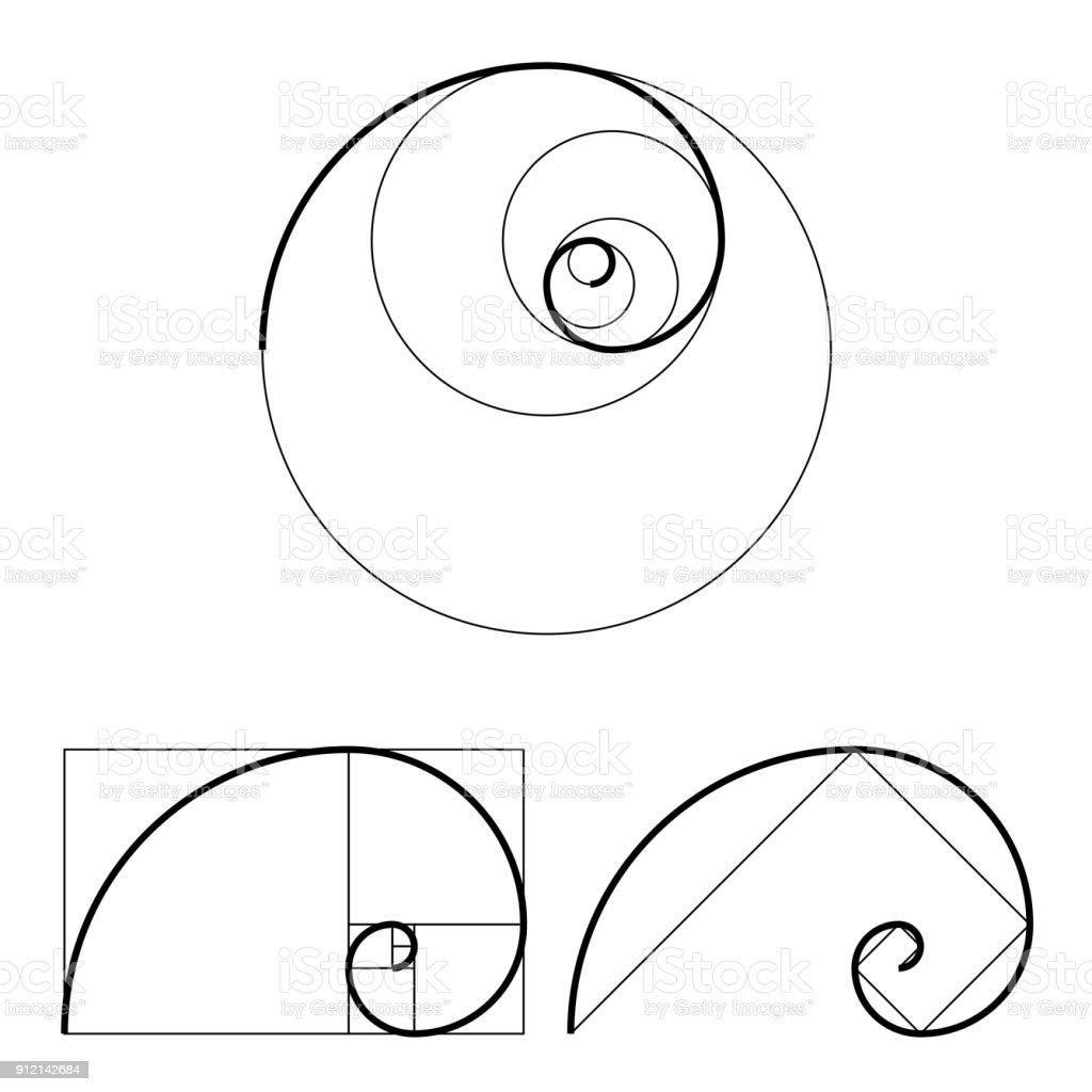 goldener schnitt vorlagensatz anteilsymbol grafik designelement spirale des goldenen schnittes. Black Bedroom Furniture Sets. Home Design Ideas